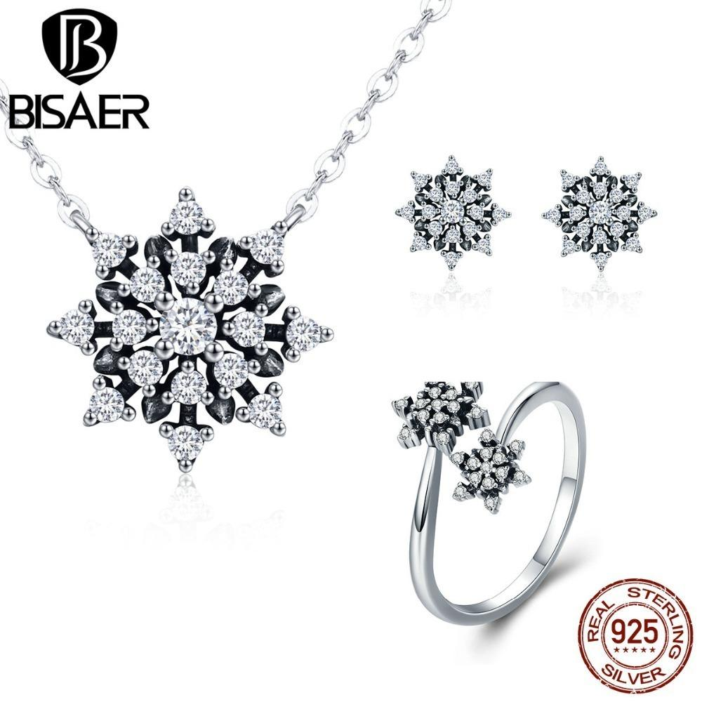 Bisaer Genuine 925 Sterling Silver Clear Cz Dazzling Elegant Snowflake Jewelry Sets For Women Wedding Engagement Jewerly Gift C19021601