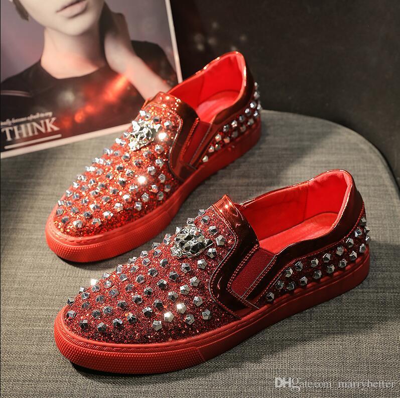 Fashion Men Sequins Casual Shoes designer Luxury Rivet shoes Men party dress Shoes Zapatillas Deportivas loafers da04