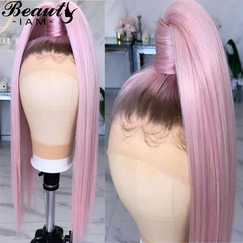 Ombre Pink Straight Lace Front Human Hair Wigs Full Lace Wig For Women 13x6 Colored Glueless Pre Plucked Wig With Baby Hair