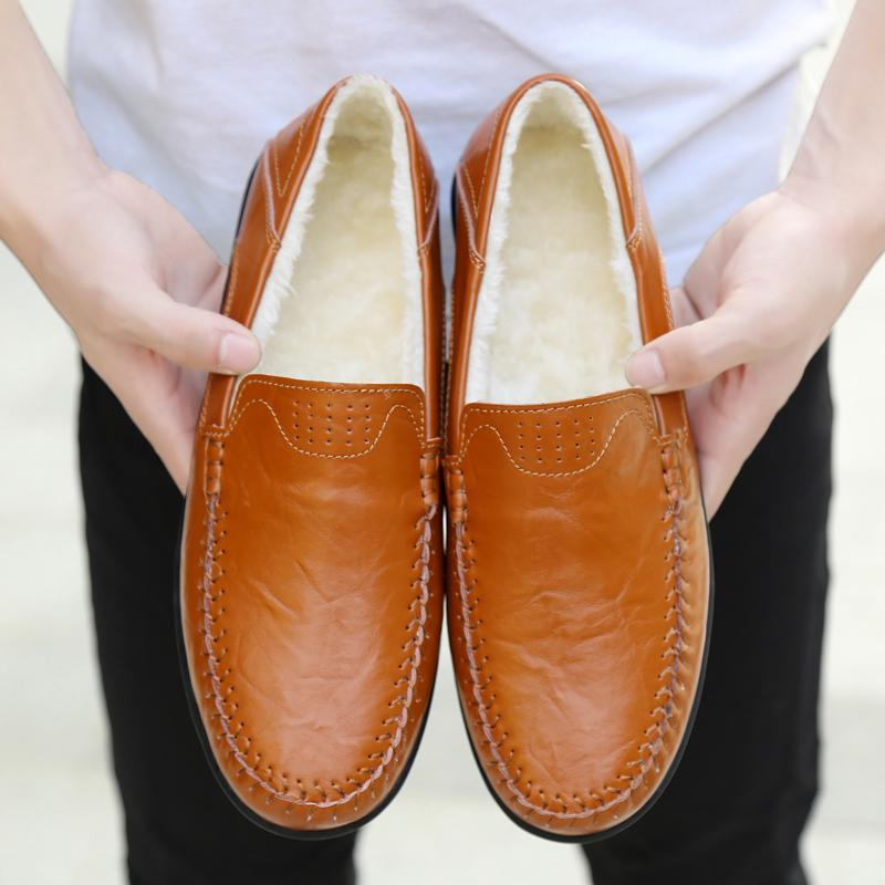 Мода Кожа Мужская Обувь Повседневная Теплые Мокасины Мужчины Натуральная Кожа Мокасины Плоские Туфли Водонепроницаемый Плюс Размер 46 47