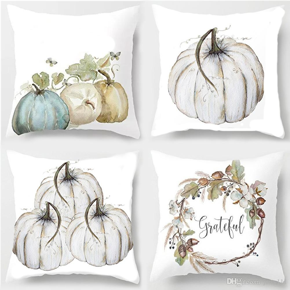2019 Modern Simple Decorative Happy Halloween 45cm*45cm Pillow Cases Happy Fall Yall Linen pillow Cover Home Decorative DHL LE427