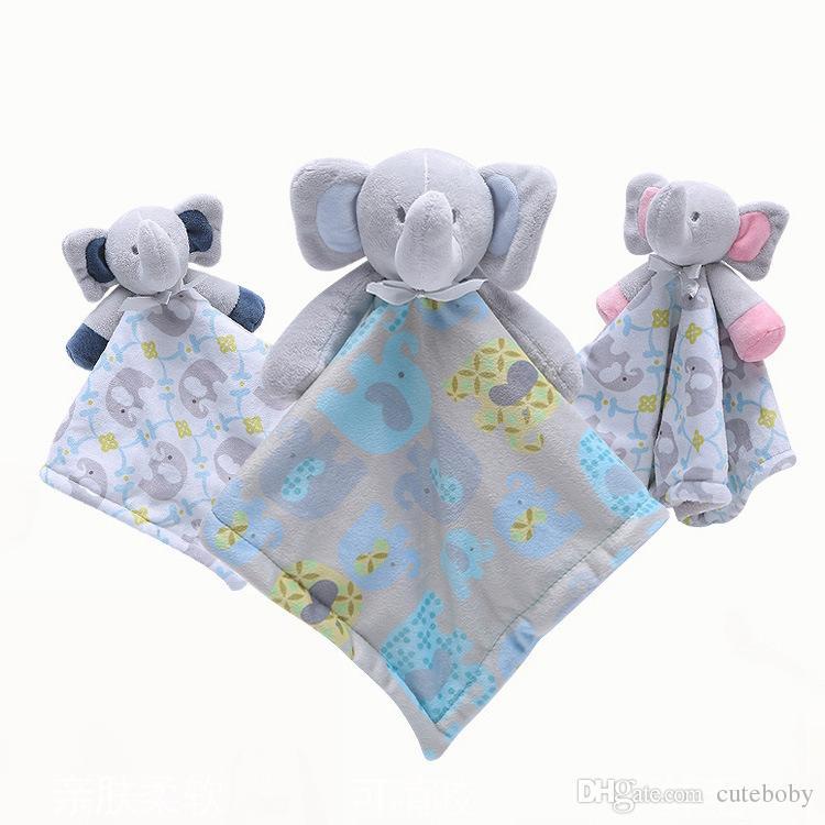 아기 부드러운 봉 제 딸랑이 장난감을 만화 아기 코끼리 인형 장난감을 싸고 수건에 대한 아이는 진정 수면 달래 봉제 인형 3 색상