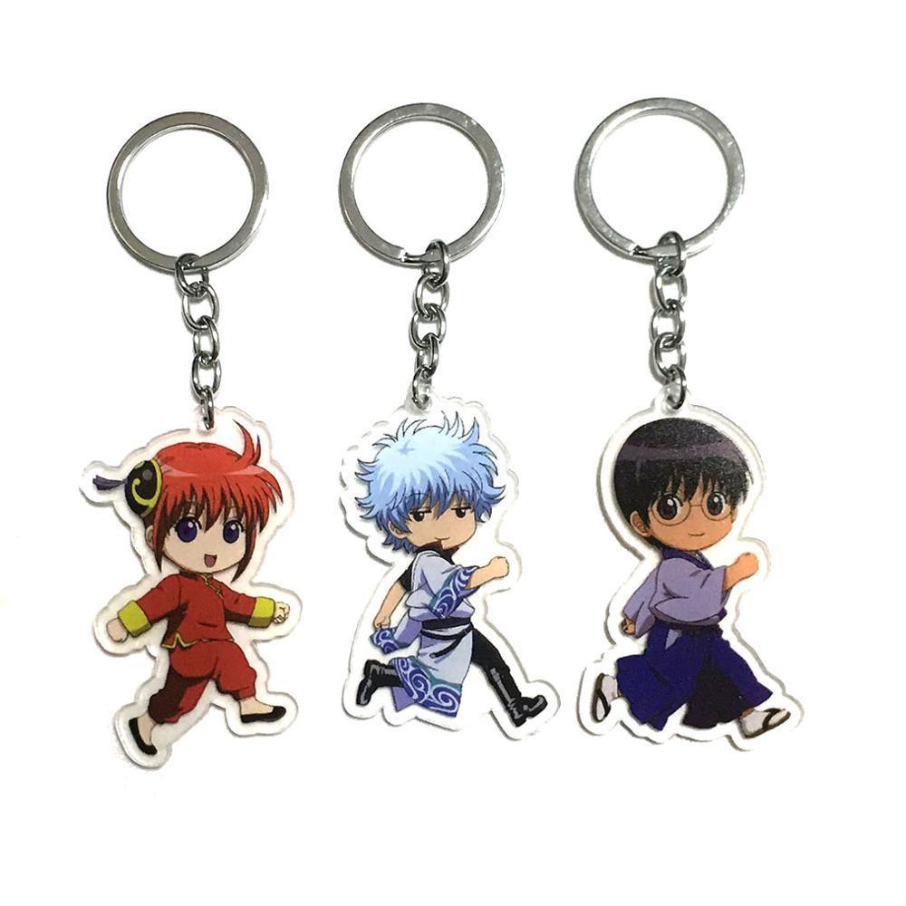 Japan Anime Sakata Gintoki Kagura Gintama Rubber Strap Charm Keychain Key Ring