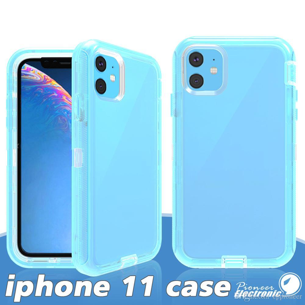 صندوق هاتف سيليكون شفاف مقاوم للصدمات ل iPhone 11 Pro MAX XS XR XS Max 8 7 Plus S20 Ultra TPU Protection Cover