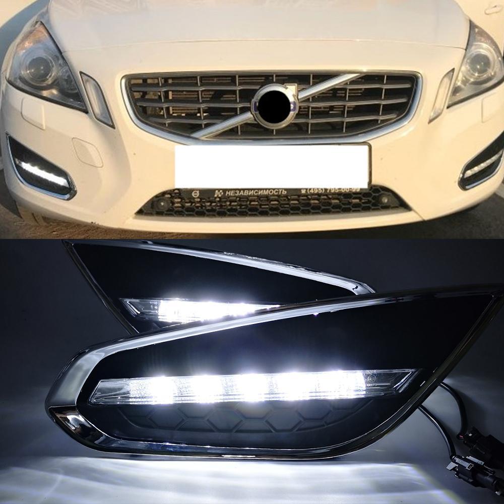 1 par carro DRL LED Daytime Running Lights Daylight Lamp Too para Volvo S60 2009 2010 2012 2013