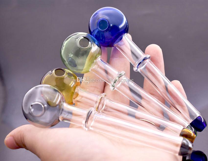 Em estoque pirex tubo de queimador de óleo de vidro mini colher mão tubos coloridos pirex queimador de óleo de vidro em linha reta tubo colorido cachimbos