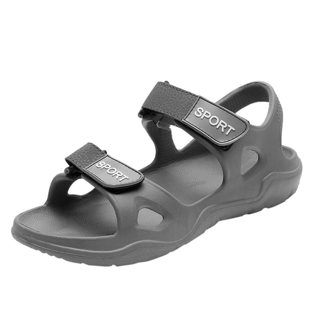 JAYCOSIN Praia Chinelos Homens Sandals sólido gancho oco Out Casual respirável Plano Sandals Homens 2019 Verão calçados casuais preguiçoso