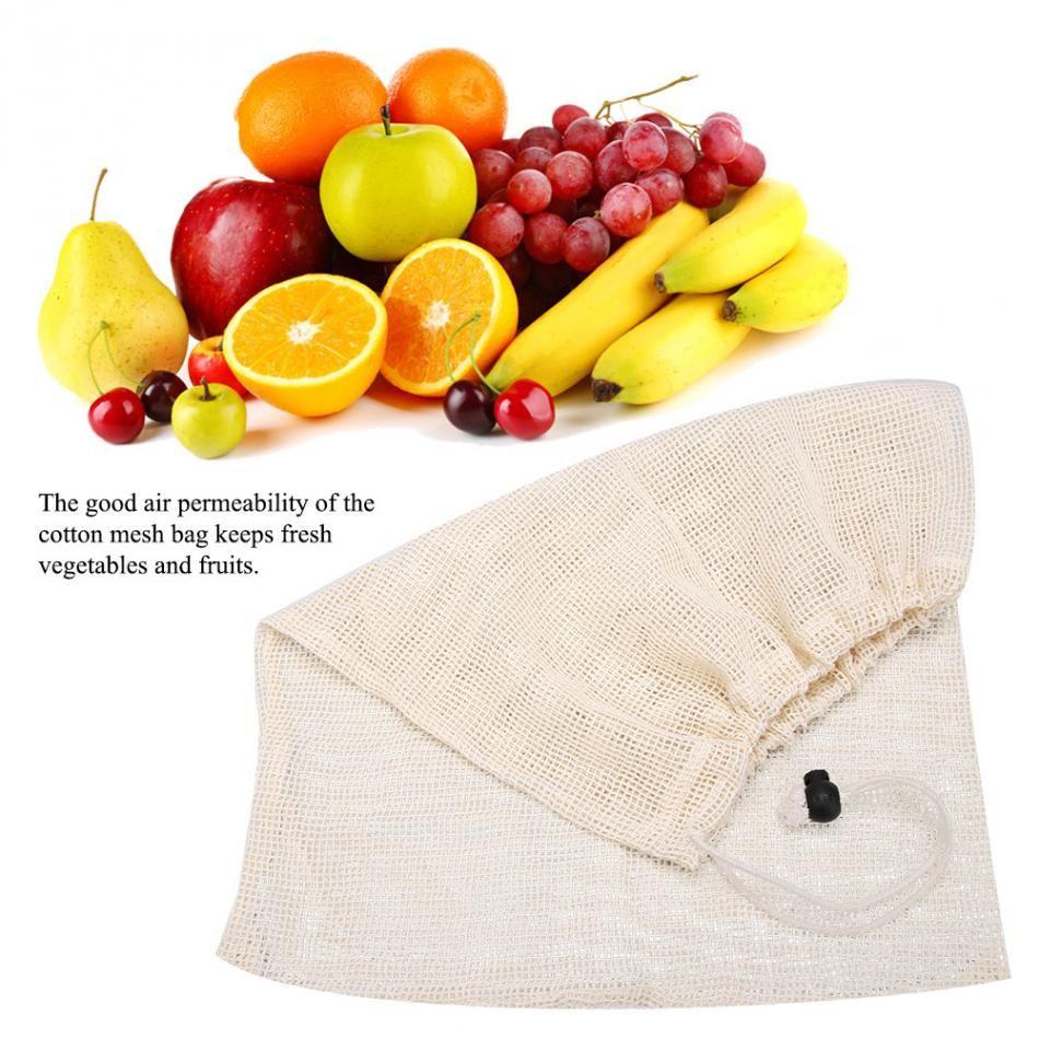 10Pcs Reusable Natural Cotton Mesh Produce Bags Fruit Vegetables Storage Bag Home Kitchen Drawstring Shopping Bag 3 Sizes
