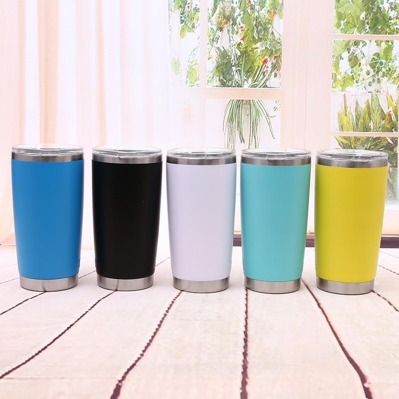 20 oz Paslanmaz Çelik Araba Fincan Moda Metal Seyahat Kamp Su Şişesi Bira Kahve Kupalar Kapaklı Şeker Renkler Bardaklar TTA1729