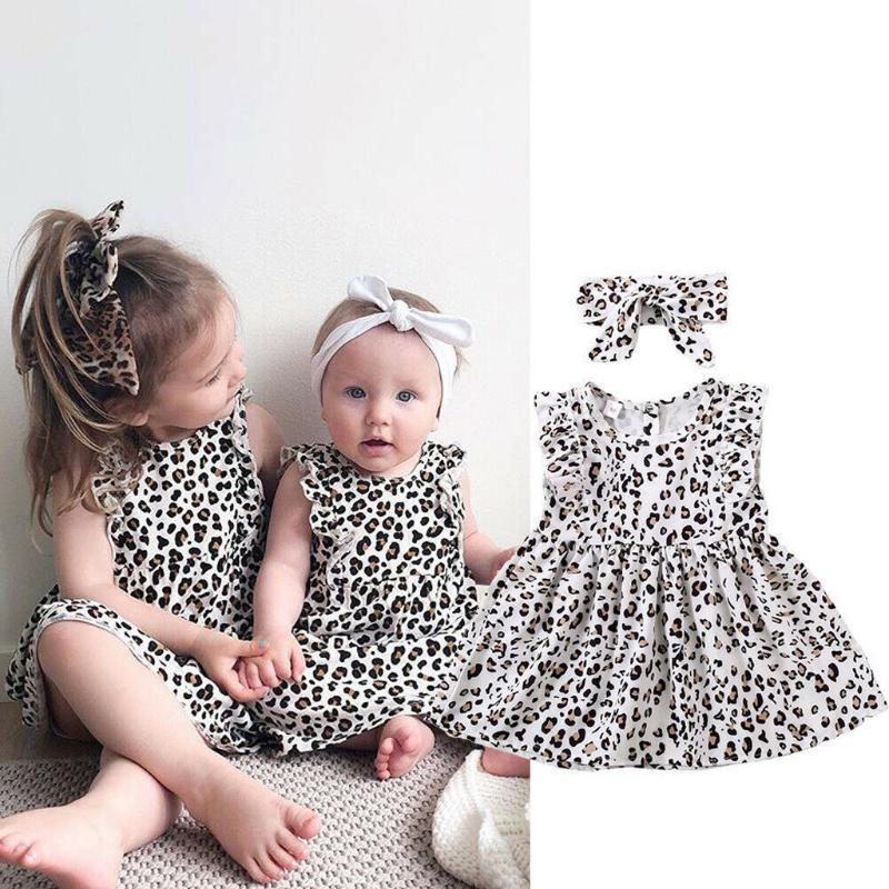 1-7Y della stampa del leopardo principessa Abiti Fasce Set del bambino bambini delle neonate Abito senza maniche estate casuale Beach Dresses Grils