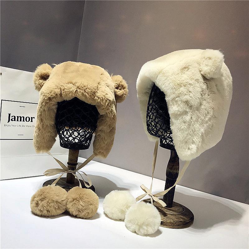 Mulheres Fluffy mais quentes Chapéus de Inverno bonito orelhas de urso de pelúcia cartoon chapéu animal Casual Caps Skullies Grosso Fur Pom Poms Gorros Bola