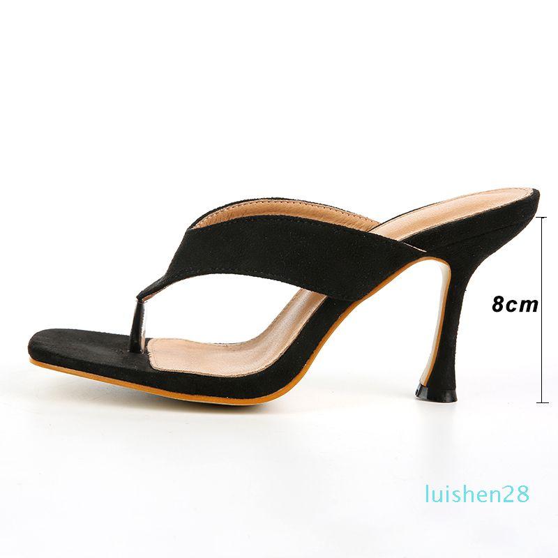 Kcenid talons hauts à la mode bout carré sandales string mules pour chaussures tongs chaussures d'été des femmes noires de la femme taille 41 42 L28
