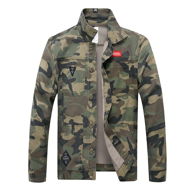 QNPQYX 2019 Nouveau Hommes Camouflage Veste en jean slim Camo Jean Vestes pour homme manteau de camionneur Vestes Manteaux Taille S-4XL Turn Down 2025