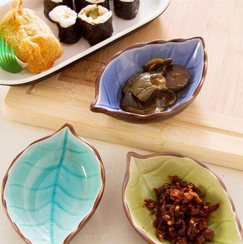 Novo 2019 4 PCS China Louça Criativo Artesanato Deixa De Cerâmica Pratos Sushi Japonês Pratos Lanches Vinagre De Cozinha Tempero Molho