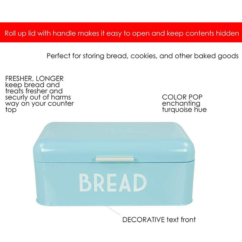 Retro Bread Box for Kitchen Counter, Bread Bin Storage Container for Loaves, Pastries and More, Vintage Inspired Design, Turquoi