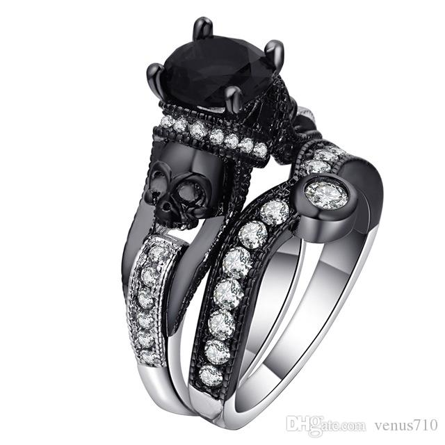 Skull Ring Set For Women Men Punk Style Fashion Jewelry Charm Black Round Cubic Zirconia evil Skeleton Ring Set For Party