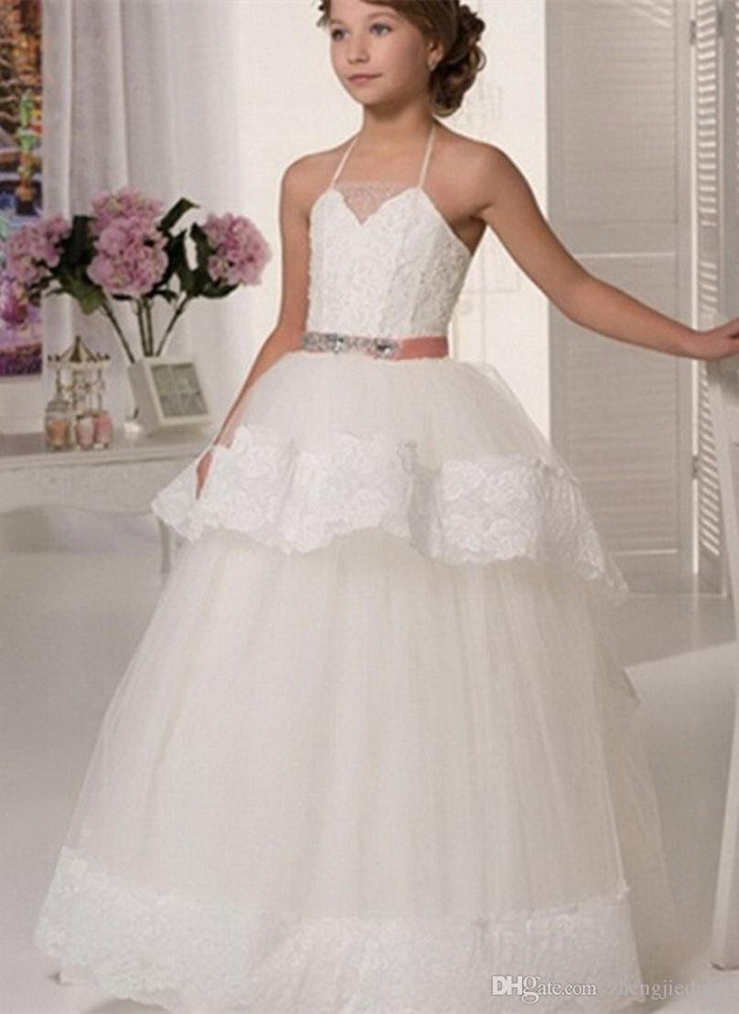 Vestidos de niña de las flores de encaje sin mangas apliques para las bodas cabestro de longitud de marco moldeado para las muchachas vestidos de primera comunión
