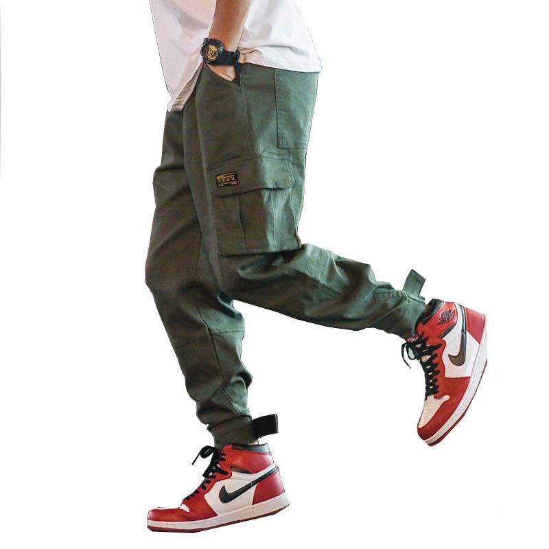 Homens 2019 Mens Streetwear Joogers calças pretas Sweatpant Masculino Hiphop Outono Pockets Calças Macacões Homens Joggers