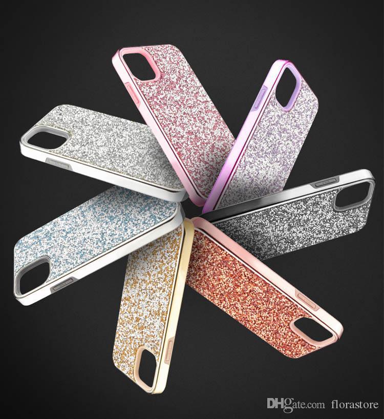 Custodia per cellulari di bling cystal Glitter TPU + PC Custodia per copertura strass per iPhone XR x 11 12 Pro Max Samsung