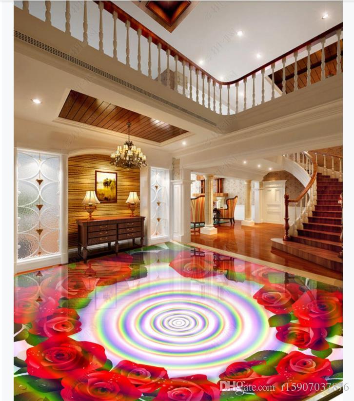 Personalizado 3D autoadhesivo piso foto mural wallpaper Grande colorido rosa sala dormitorio 3D piso pintura pegatinas
