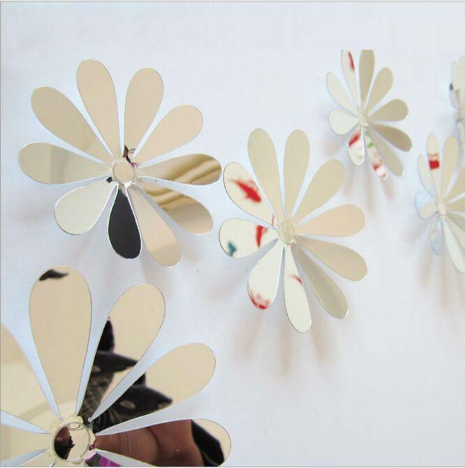 12 UNIDS / set Hogar creativo flor del espejo decoración del palillo del refrigerador pintura moda decoración del hogar 3d palo de la pared
