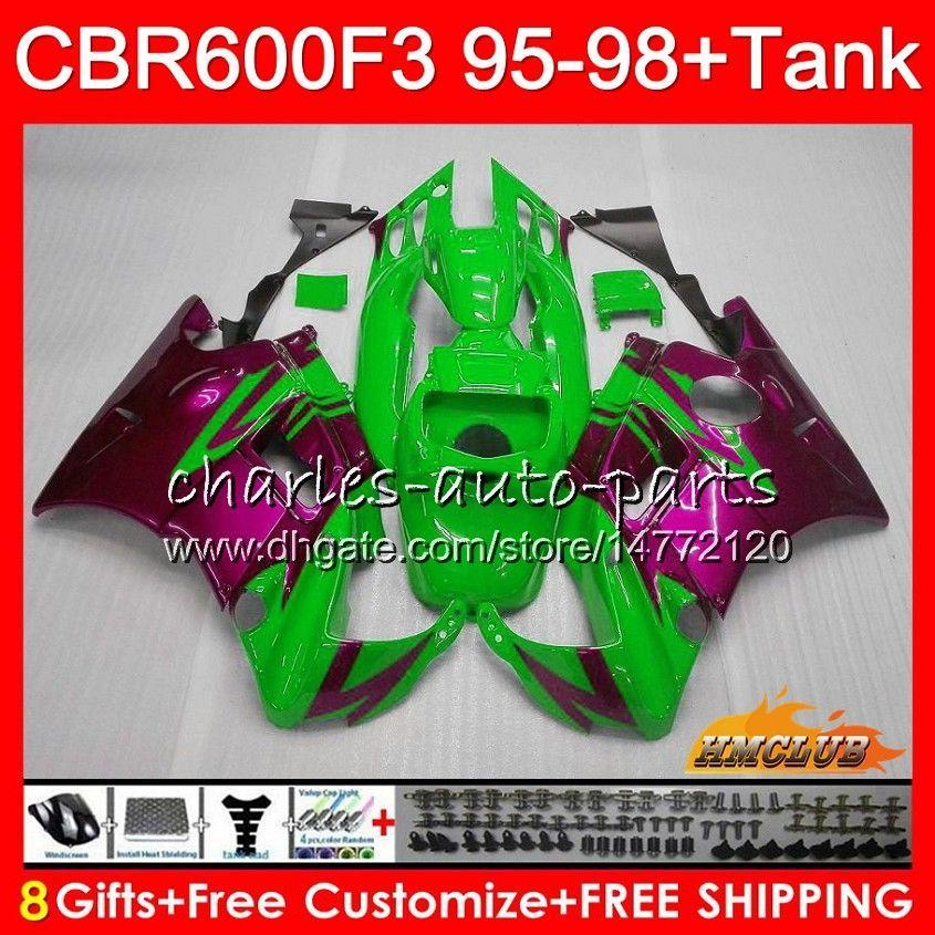 Kit+Tank For HONDA CBR600RR CBR 600 FS 1995 1996 1997 1998 41NO.234 CBR600F3 CBR 600F3 CBR600FS CBR600 F3 95 96 rose green 97 98 Fairings