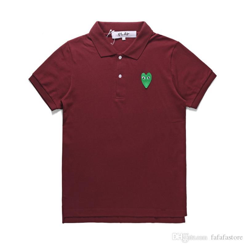 2019 Yeni moda COM toptan En Kaliteli şarap kırmızı Yeşil Kalp DES GARCONS OYUN Siyah Polo T-Shirt Boyut M Japonya'da Yapılan Junya Homme Artı