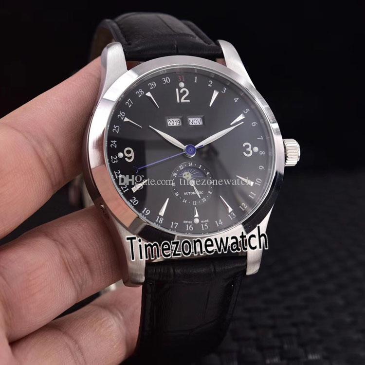 Nuevo Calendario Maestro 1558420 Q1558420 automática de fase lunar para hombre del reloj de acero Negro Dial calendario perpetuo de piel Timezonewatch JLE13a1