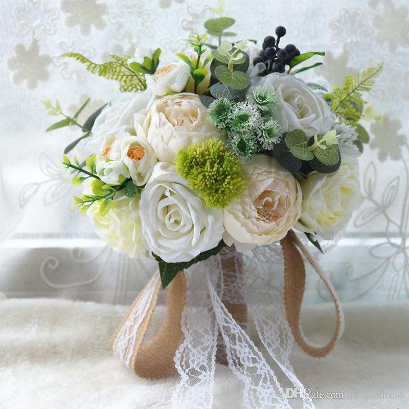 Ivory white red wedding flowers simple Bridal Bridesmaid wedding bouquet artificial flower rose with lace bridal bouquets