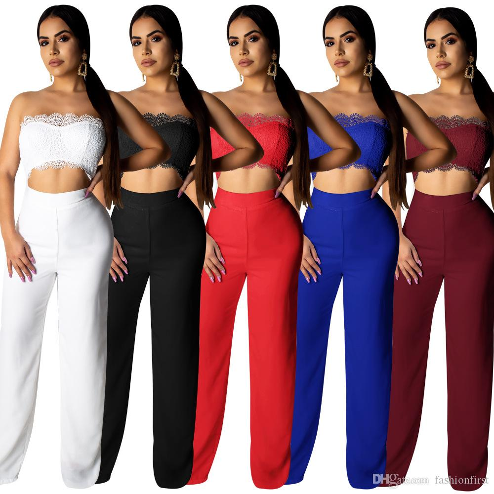 Hot fashion sexy solid color lace pants trousers sexy girl suits jumpsuit white black red blue pant suit free shipping