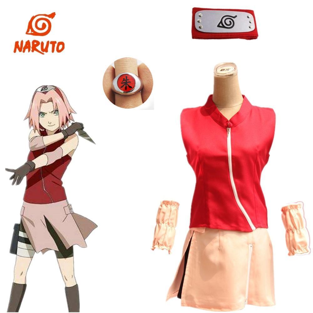 Asya boyutu Anime Naruto Kadınlar Sakura Haruno Hokage Cosplay Parti Kırmızı Kostüm Kolsuz Üniforma Tam Set