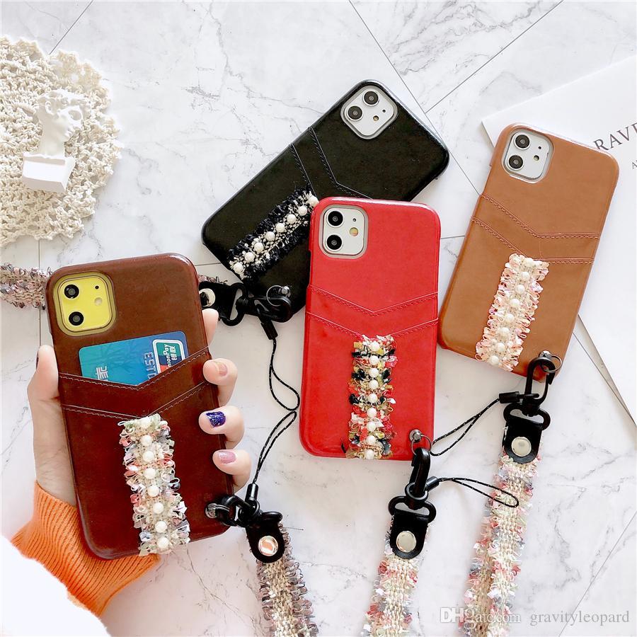 nette Handschlaufe Perlen-Kasten für IPhone 11 Pro Xs Max X Xr 6S 7 8 Plus Leder Kartenhalter Stoß- Cover-Rückseite