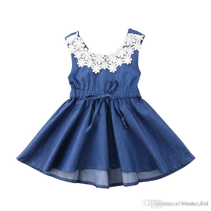 Baby Girls Princess Dress Children Flower Denim Lace Party Dress Kids Long Sleeve Party Dresses Baby Girl Costume Kid Clothing