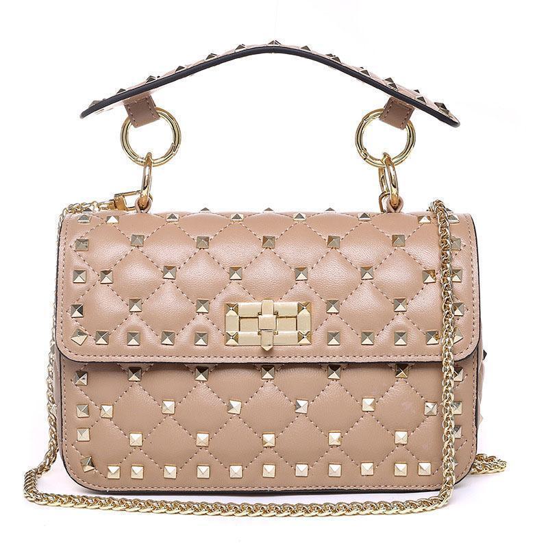 Sacs à bandoulière véritables Rivet en cuir pour femmes 100% en peau de mouton Mode Femmes chaîne sac à bandoulière de luxe de embrayages abricot