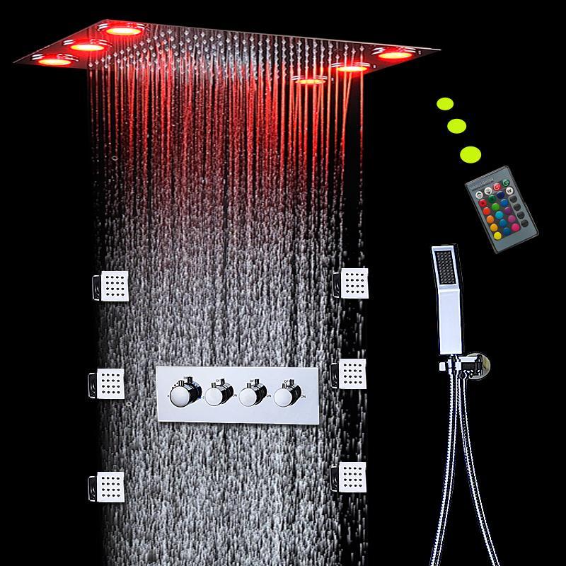 항온 고 유량 샤워 믹서 세트 강우 천장 샤워 패널 본체 제트 마사지 전기 전력 등 3 개 기능 욕 시스템 주도