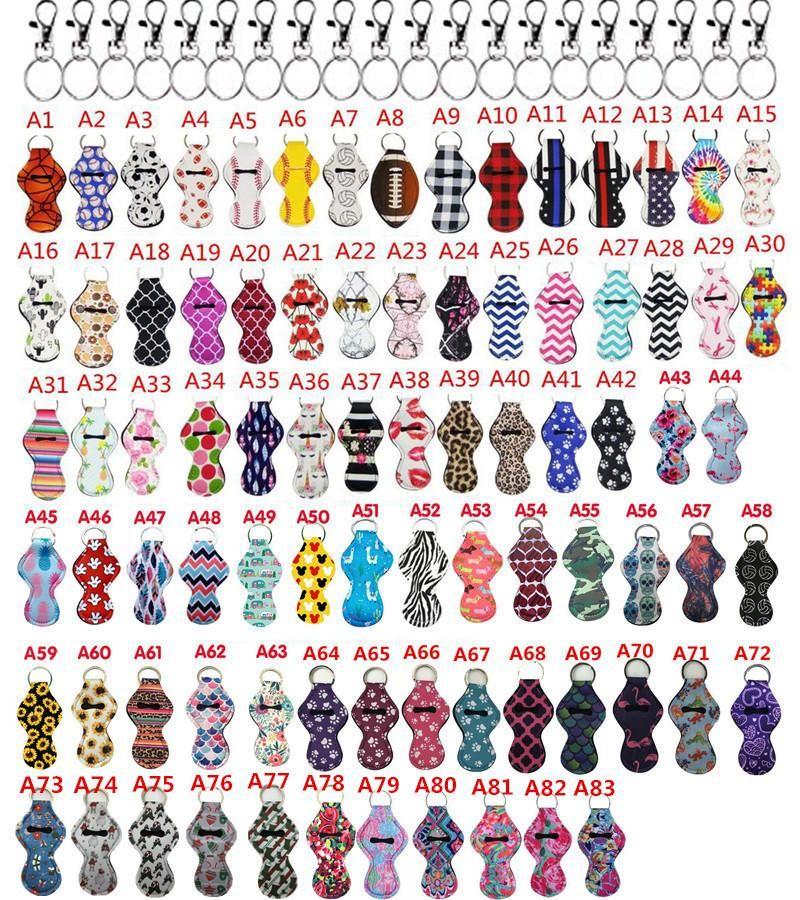 Néoprène Chapstick Porte Keychain Porte-Rouge à lèvres Porte-clés avec cordons clip en métal pour 124 couleurs Party Gift
