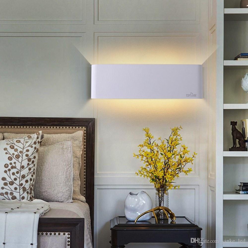 مستطيل الألومنيوم أدى الجدار مصباح الجدار ضوء داخلي نوم ac85-265v 12 واط دافئ الأبيض السرير الشمعدانات الممر مصابيح غرفة المعيشة أضواء الحمام