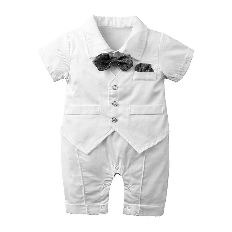 nouveau garçon né barboteuse homme noeud papillon courte partie des vêtements d'été de mariage manches costume blanc bébé nouveau-né jumpsuit bleu 2019