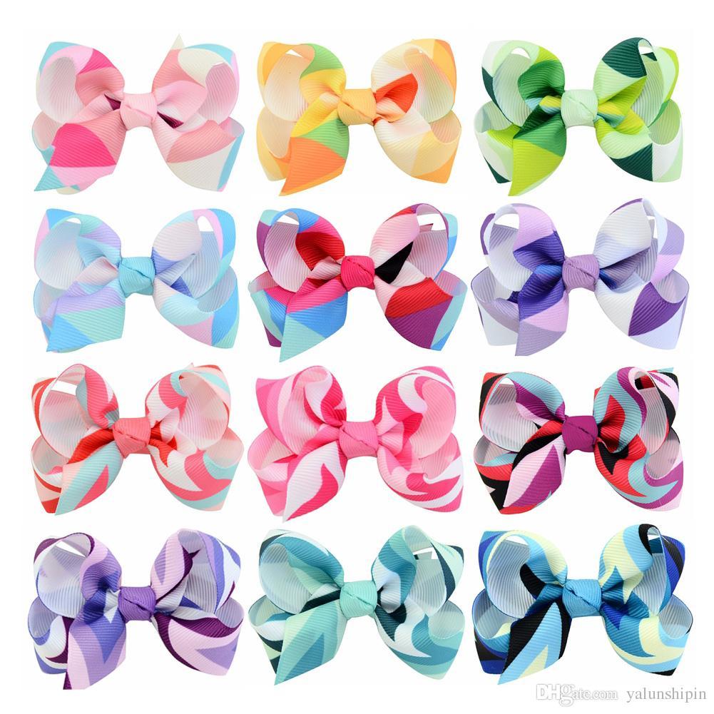 12 colori 3 '' arco arco del nastro del grosgrain colorato con clip bambini triangolo freccia clip di capelli Boutique accessori per capelli
