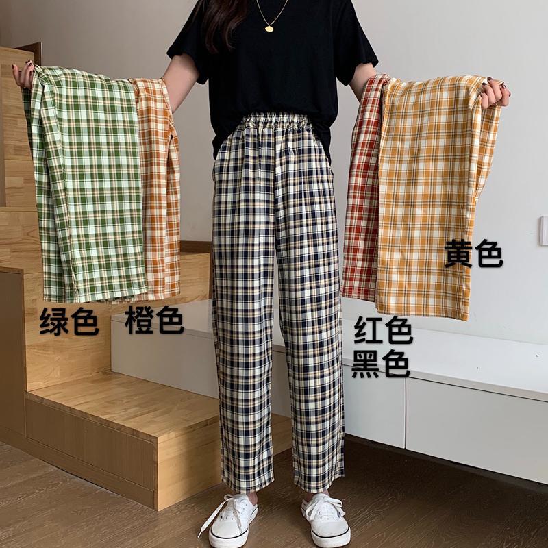 Karierte Hosen für Frauen 2020 Hohe Taille Hosen für Frauen Koreanische Style Hosen Casual Breites Bein Plaid Harajuku