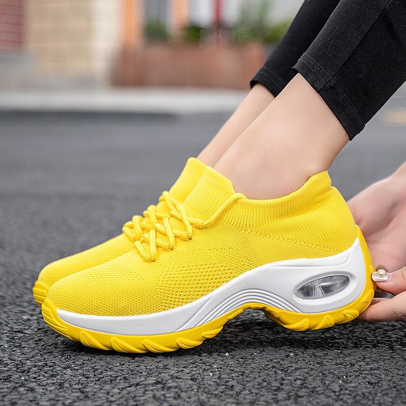 Кроссовки на платформе женские квартиры 2020 дышащая Повседневная обувь квартиры 6 цветов клинья кроссовки для женщин сетчатый носок Zapatos De Mujer