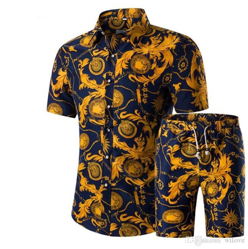 Neue Männer Shirts + Shorts Set Neue Sommer-beiläufige Printed Hawaiihemd Homme Short Male Printing Sets Plus Size