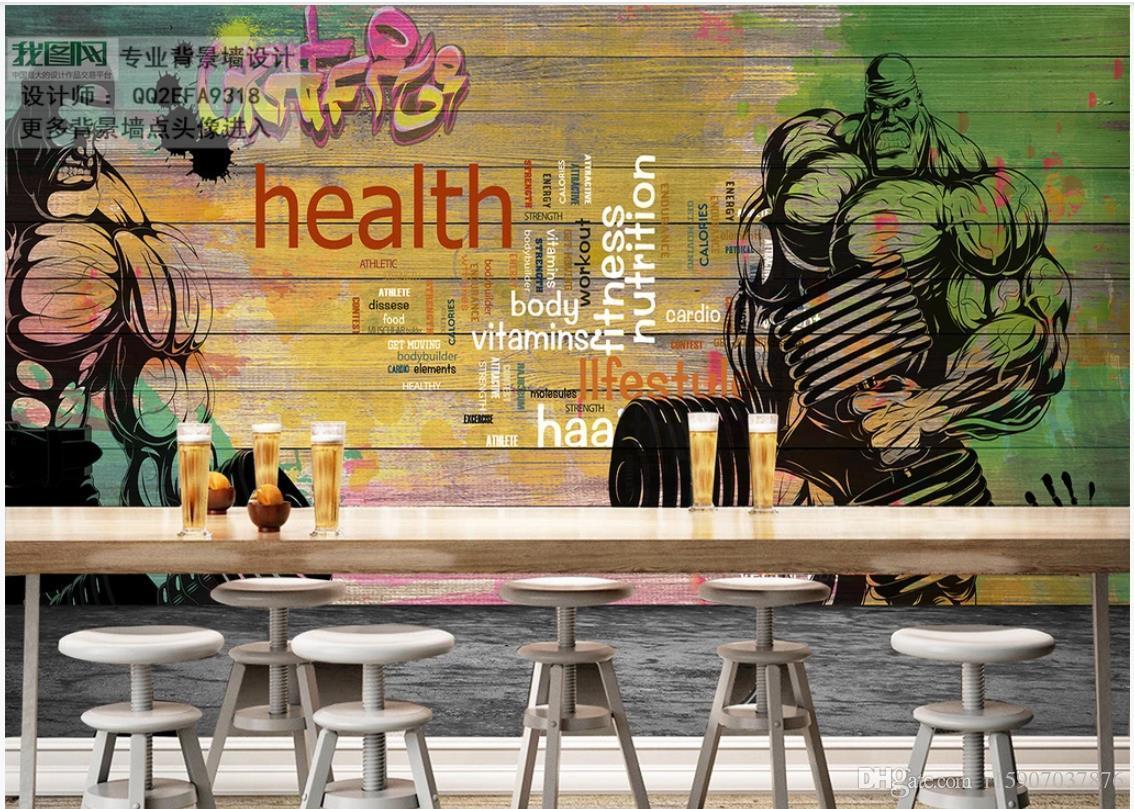 foto personalizada mural de parede 3d murais ginásio para parede de fundo sala de estar decoração Placa de madeira esportes parede graffiti imagem clube de fitness