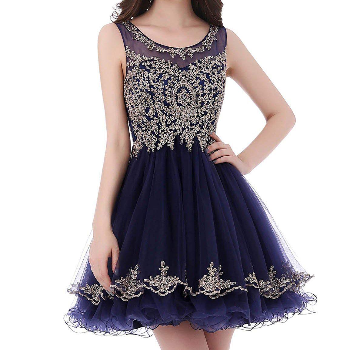 Satın Al 2019 Kısa Homecoming Parti Elbise Tül Puf Altın Dantel Aplikler Gençler Vestidos 15 Anos Geri See Through Sınıf Gelinlik Modelleri 9046