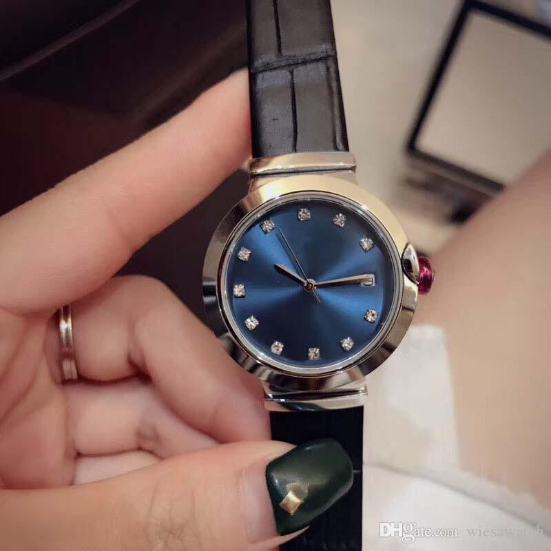 33MM Joker Womens Watches Quartz Ladies Watch Blue Dial Leather Band Mother Of Pearl Dial Diamond Hour Markers Round Case