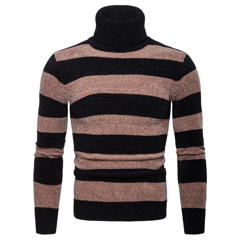 2018. Новые зимние повседневные свитера для мужчин Мода Полосатый Мужчины свитер Slim Fit Вязаные пуловер свитер плюс размер