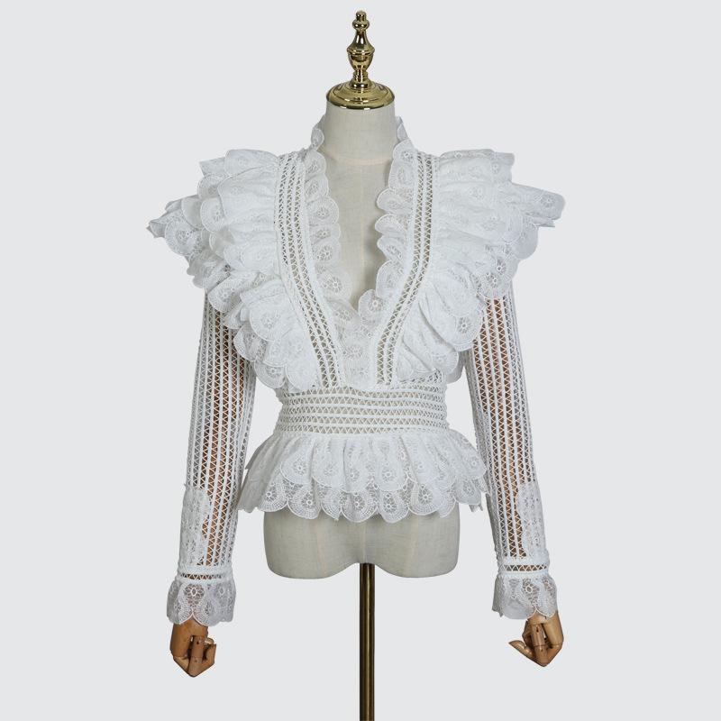 [MENKAY] 2018 Autumn ZIM Hollow Out V Neck Ruffles Spliced Tops Women Shirt New