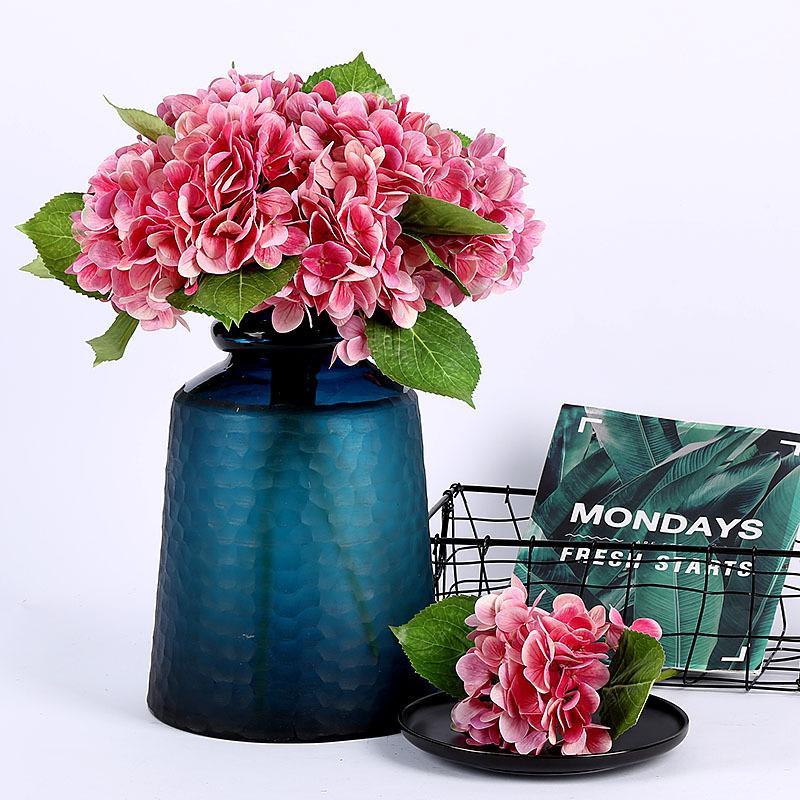 6PCS / lot Impression 3D artificielle fleur de mariage blanc rose Hydrangea Fleurs Décoration Photographie Props Faux Fleurs