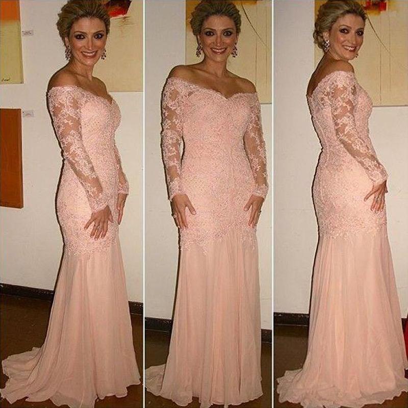 Mangas compridas mãe da noiva vestidos de Coral fora do ombro botões forrados Voltar Blush sereia Vestidos de noite