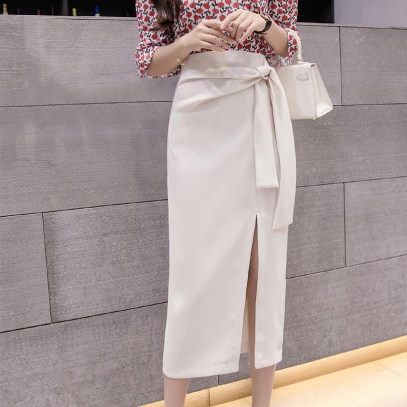 Femmes Suede Jupe taille haute Midi Spring Bodycon de Split Jupettes Jupes Femme 2020 Bureau Summer Lady Noir Beige Vêtements Ropa